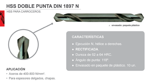 Broca HSS Doble Punta DIN 1897 N.