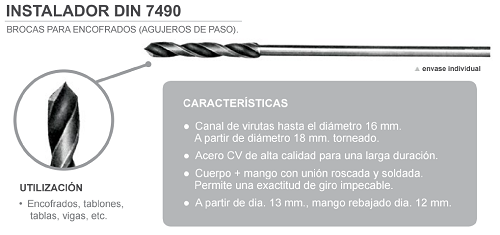 Broca para Madera Instalador DIN 7490 SDS PLUS Largo 400.